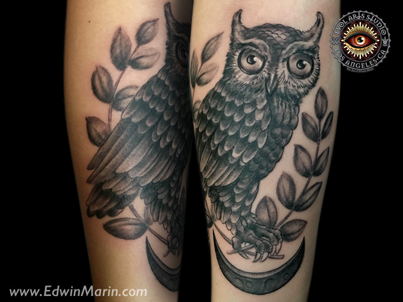 Tattoos the art and tattoos of edwin marin for Athena owl tattoo
